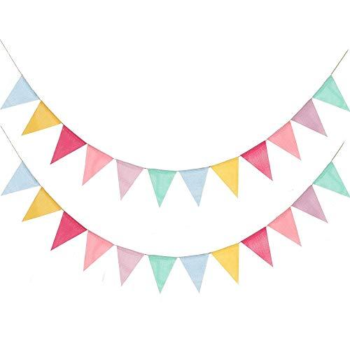 icolor Flag Banner mit Dreieck Fahnen, Nylon Stoff Bunting Banner für Geburtstag, Hochzeit, Party Dekoration 12 Pcs / 2 Set Feiertagsdekorationen ()