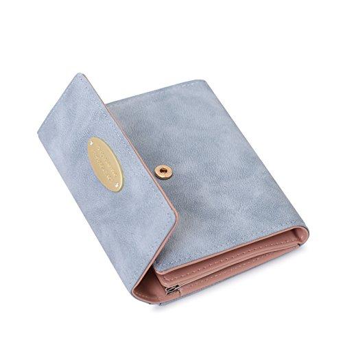 in Portemonnaie für Frauen Leder Geldbeutel Damen Brieftasche Damen Kurz mit Münzen Taschen Geld Organisator Und Kartenhalter (Blue) ()