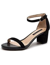 QIDI-sandalias Caucho Temporada De Verano Mujer Simple Talón Medio Punta Abierta Albaricoque Negro Rojo Zapatos...