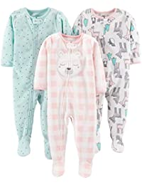Simple Joys by Carter\'s 3-Pack Loose Fit Flame Resistant Fleece Footed Pajamas Bebé-Niñas, Pack de 3