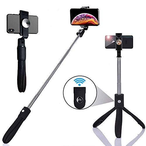 HISAYSY Selfie-Stick, Bluetooth Selfie Stativ mit Abnehmbarer Fernbedienung, Stativ für iPhone X/iPhone 8/8 Plus/iPhone 7/7 Plus, Galaxy S9 / S9 / S8 / S8 Plus / Note8, Huawei Smartphone