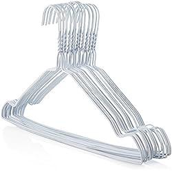 Hangerworld 50 Cintres 40cm Solides en Métal Blanc à Barre Pantalon et Encoches pour Accrocher Vos Vêtements