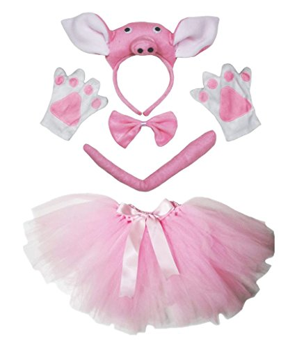 Petitebelle Stereo Pig Costume Headband Tail Gloves Pink Tutu 5pc Set for Women (One ()