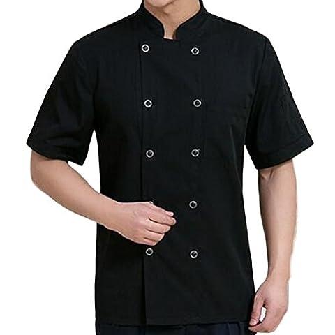 Nanxson(TM) Unisex slim fit Küche Hotel Uniform Kurzarm Stehkragen Kochjacke Küchebekleidung mit zweireihiger Knöpfe CFM0018 (M, Schwarz)