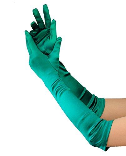 NYfashion101 Elegante Satin Handschuhe für Damen Ellbogenlänge 12BL - (Grün Lange Nylon Handschuhe)
