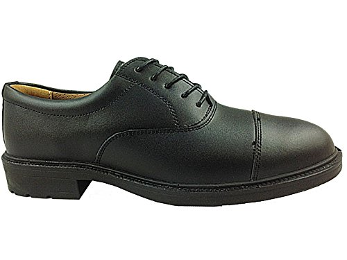 Mens Groundwork Black Oxford Leather Safety Steel Toe Cap Smart Work Shoes...