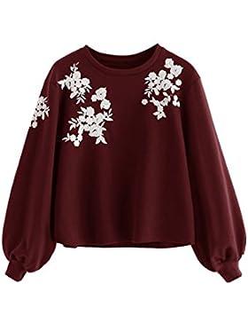 ROMWE Damen Pullover mit Blumen Stickerein Puffärmeln Langarm Jumper Shirt Sweatshirt