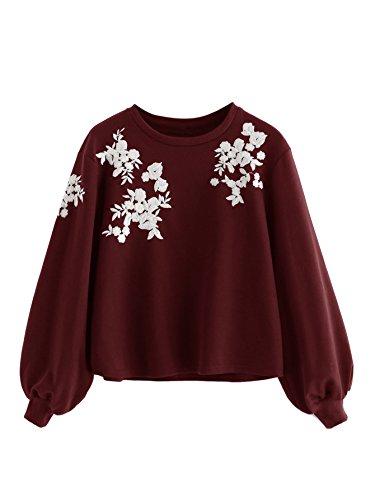 ROMWE Damen Pullover mit Blumen Stickerein Puffärmeln Langarm Shirt Sweatshirt Burgundy M