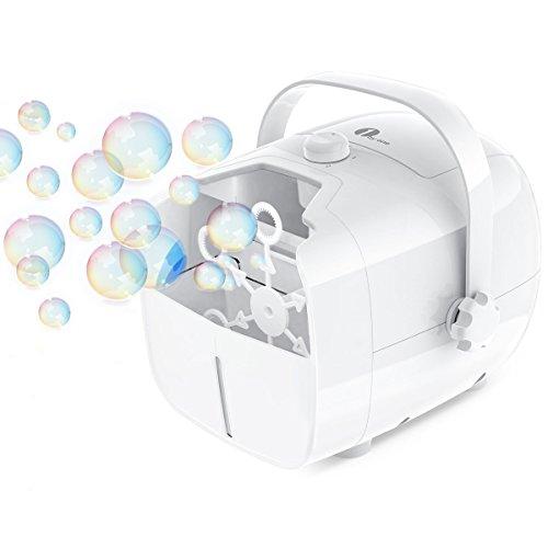 1byone Tragbare Seifenblasenmaschine, Automatischer Seifenblasen angetrieben von Batterie oder Stecker, Outdoor/Indoor Seifenblasenwerfer für besonders viele Seifenblasen - Weiß