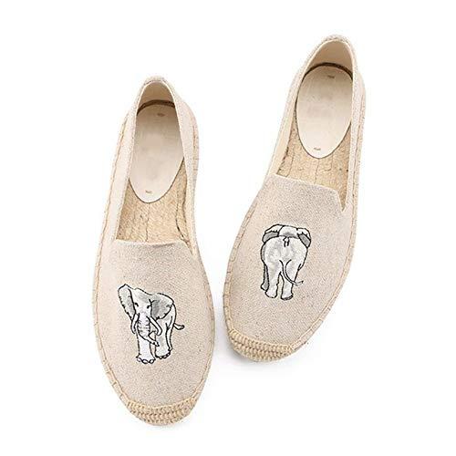 YOPAIYA Alpargatas,Moda para Mujer Damas Zapatos Beige Lienzo Dibujos Animados Fotos Elefante Roma Correa del Tobillo Hemps Zapatos De Los Planos, 39