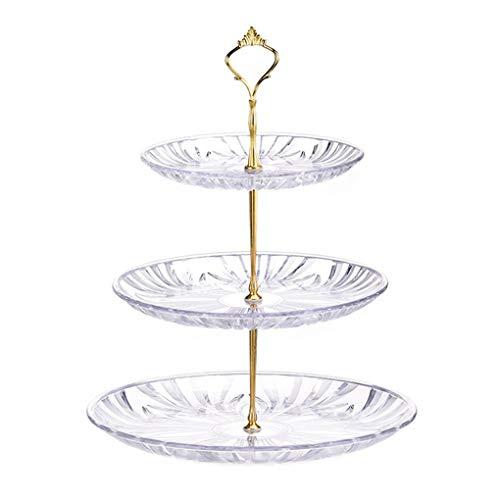Fangfeen 3-Tier Runde Transparent Food-Grade Kunststoff Obst Dessert Kuchen-Dessert Turm Stehen Tea Party Servierplatte (Tier-servierplatte)
