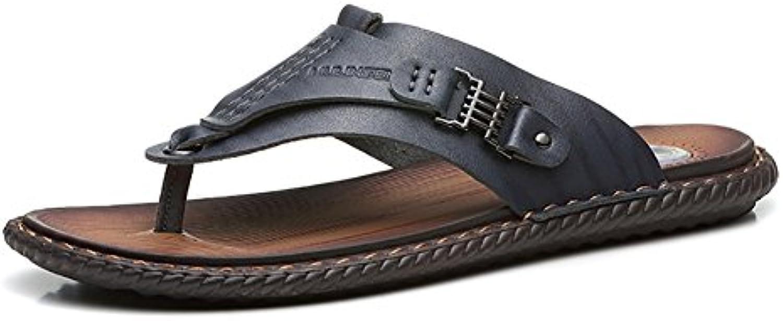 Outdoor Slipper Mann Sandale Strand Schuhe weiche Echtleder komfortable Freizeit (38 44 Größe) (Farbe : SchwarzOutdoor Slipper Echtleder komfortable Freizeit