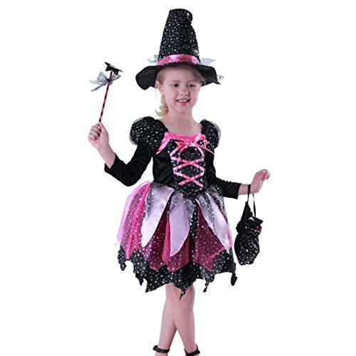 Mädchen Purple Witch Dress Cosplay Kostüm für Anzieh & Role Play Halloween mit Hut ()