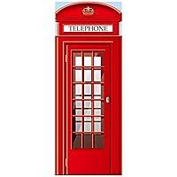 XFF Puerta Pared Pegatina Londres Cabina Telefónica Autoadhesivo Pegatina Mural Casa Decole Retro Decoración 77 *