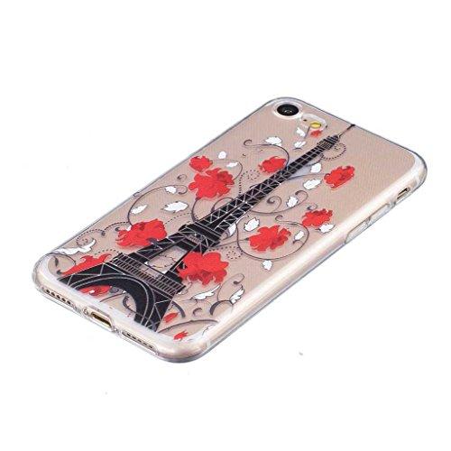 iGrelem® Cover per iPhone 7, con protezione per lo schermo in vetro temperato, Ultra sottile, trasparente, morbida, in TPU, per Apple iPhone 7da 4,7, motivo a scelta con fiori, farfalle, piume color Tower, Multicolor
