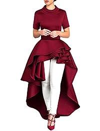 Yesmile Vestido de Mujer Falda Blanco Ropa Vestido Elegante de Noche para  Boda Fista Vestido Largo de Manga Corta para Mujer Verano Fiesta… dfe65d472032