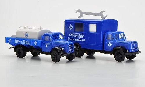 Set BV-ARAL: Borgward B 4500 mit Heizöltank und Magirus S 3500 mit Dachaufbau, Modellauto, Fertigmodell, Brekina / PMS 1:87