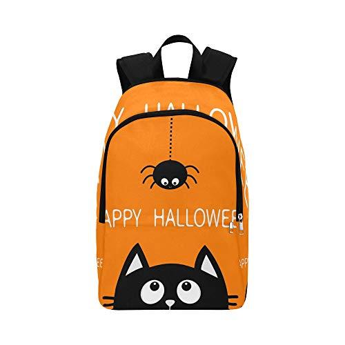 Happy Halloween Schwarze Katze Gesicht Kopf Lässig Daypack Reisetasche College School Rucksack Für Männer Und Frauen
