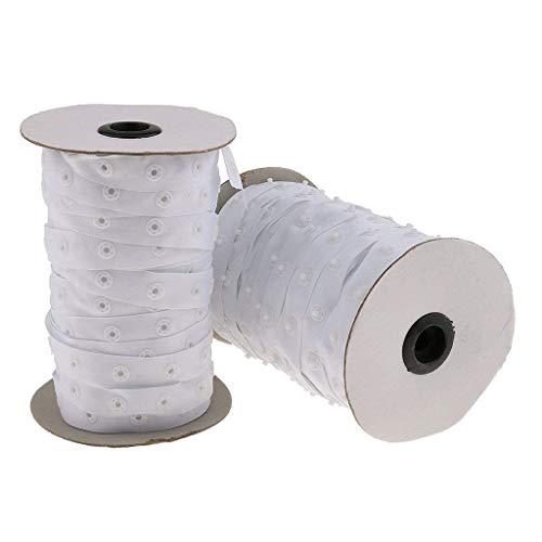 Schritt Teddy (Zeagro 50 Meter weißes Näh-Knopfband 8 mm runde Knöpfe Reißverschluss Ersatz für Baby Dessous Teddy Schritt Nähen DIY 1 Stück)