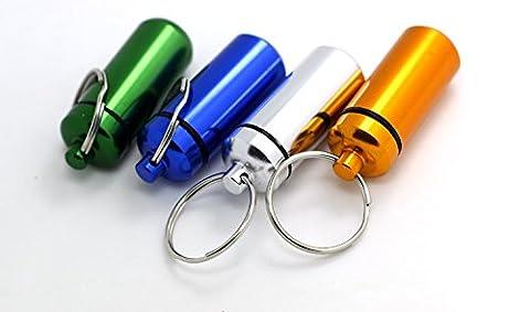 5x Aluminum Pill Box Case Bottle Holder Container Keychain - Holder Keychain