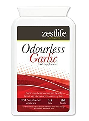 ODOURLESS GARLIC - 1000mg 120 softgels Has been found to have Antibacterial | Antiviral | Antifungal Activity |benefits. Believed to help maintain a healthy heart, circulation, cholesterol levels and immune system. by Zestlife