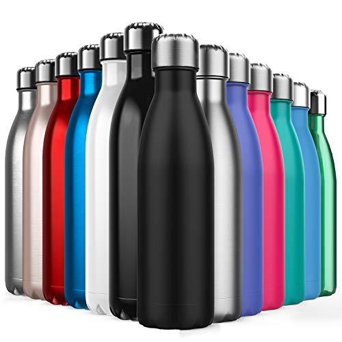 BICASLOVE de Botella de Agua de Acero Inoxidable,Diseño de Pared Doble,Boca Estándar,Para Correr,Gimnasio,Yoga,Ciclismo,500ML,Negro
