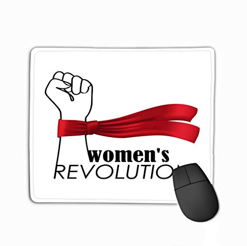 Mouse Pad Womens Revolution Fashion Print White Background Pattern Lettering Fist red ribbonhirt Apparel Rectangle Rubber Mousepad 11.81 X 9.84 Inch