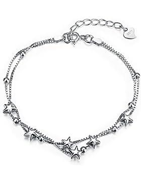 JewelleryClub Stars Beaded Charm Armband 925 Sterling Silber Einfache Stil Armband Fußkettchen für Mädchen Frauen