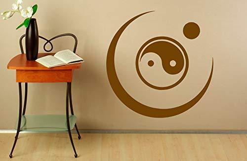 zhuziji Buddha Vinyl Wall Stickers Yin Yang Pattern Wall Decal Yoga Studio Modern Moon Art Mural Removable Interior DIY Decor Sym 42x42cm - Tiny Alphabet Sticker