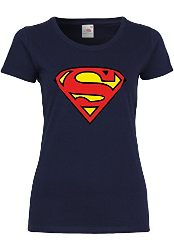 METRA M91 F288N Damen T-Shirt mit Motiv Superman, Größe:M, Farbe:Deep Navy