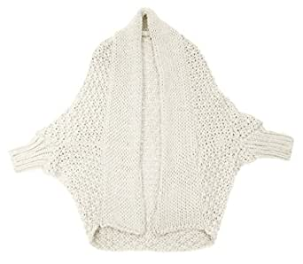 #4062 Damen Strickjacke Cape Poncho Jacke Überwurf Volant Cardigan Mantel 34 36 38 40 (Creme)