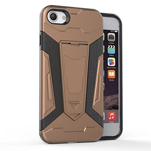 Apple iPhone 7 Plus 5.5 Hülle, Voguecase 2 in 1 Case Hybrid Hülle Bumper Hart PC Case Tasche Schutzhülle Handyhülle mit TPU Rückseite Cover (Armored Halterung-Grau) + Gratis Universal Eingabestift Armored Halterung-Braun