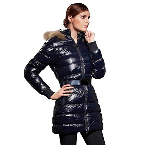 Giacche invernali Donne Cappotti Cotone lungo imbottito Giacche sottili imbottite Cappotto di spessore della chiusura lampo dark blue