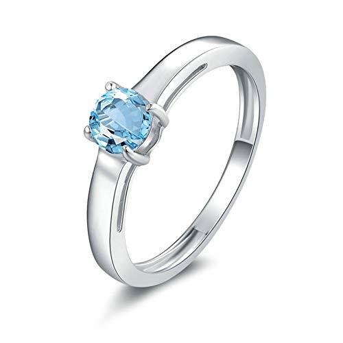 Aeici Ring Frauen mit Stein Ring 925 Vintage Runder 5X5Mm Blauer Topas Silber Größe 45 (14.3)