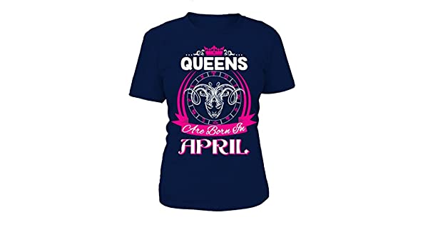 9e9f23ae teezily Queens are Born in April - T-Shirt Round Neck Womens - Navy:  Amazon.co.uk: Clothing