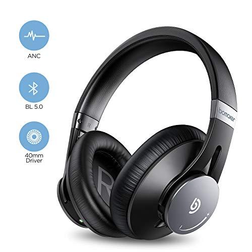 BOMAKER Cuffie Wireless, Bluetooth ANC Headphones Over Ear Cancellazione Attiva del Rumore con CVC 8.0 Microfono, Morbido Paraorecchie Protettivo, Compatibile con Android/iOS/Tablet, Dolphin Ⅰ, Nero