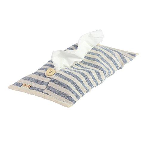Caja de pañuelos dispensador de funda de almohada de estilo, diseño de rayas, color azul