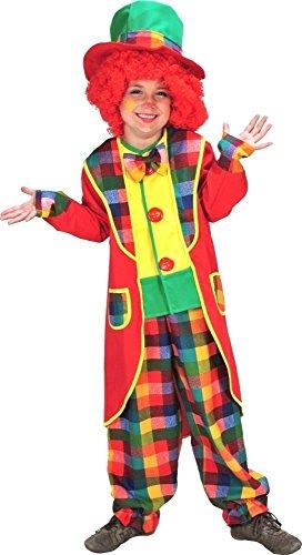 KARNEVALS-GIGANT Clown Kostüm Unisex bunt für Kinder | Größe 128 | 3-teiliges Clowns Kostüm | Clown Faschingskostüm | Clownkostüm aus Polyester