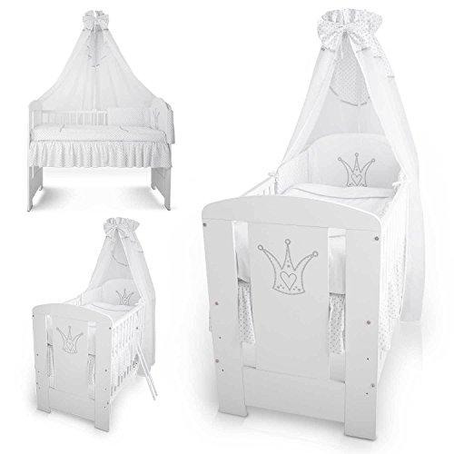Berceau bebe lit bébé cododo 120 x 60 cm avec Set de lit couronne blanche