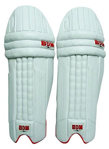 Amazer BDM Herren Cricket Batting Pads rechtshändig Weiß Beinschutz PU-Leder