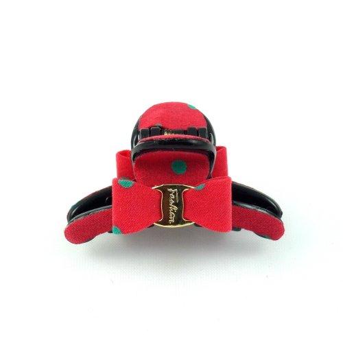 rougecaramel - Accessoires cheveux - Pince cheveux mini pince crabe à pois - rouge
