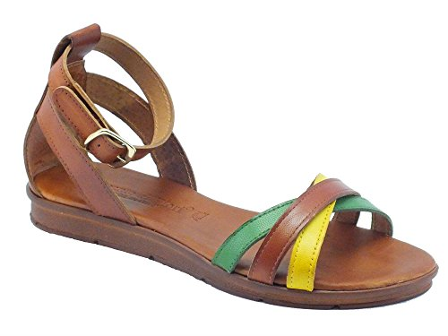 Sandali per donna Mercante di Fiori in pelle multicolore giallo marrone e verde (Taglia 40)