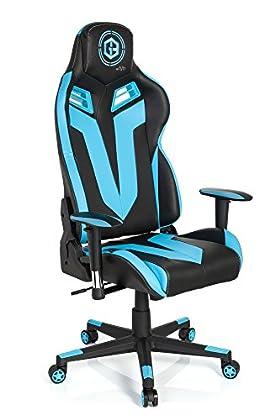 hjh OFFICE 734110 silla gaming GAMEBREAKER VR 12 piel sintética negro / azul claro silla racing oficina