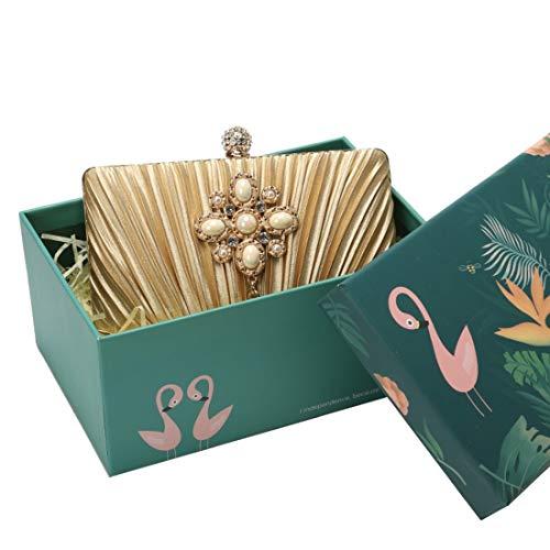 Ploekgda Womens Clutch Purse Plissee Abendtasche mit Quaste für Bridal Wedding Party mit Strass Ring (Color : Golden) -