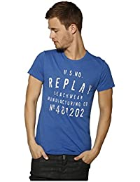 Mens Replay Logo T-Shirt Royal White XX-Large