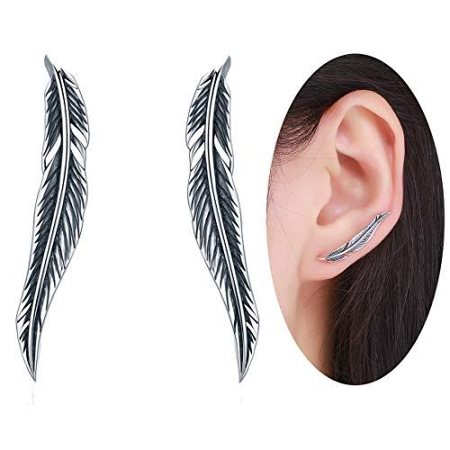 Pendientes largos de plata de ley 925, diseño vintage con alas de plumas