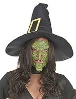 Semi-máscara látex nariz y barbilla bruja verde adulto