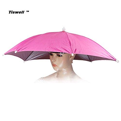 Tiswell Regenschirm-Hut 66cm Durchmesser Elastische Kopfbedeckung Regenschirm-Hut für Angeln, Garten, Fotografie, Wandern., rose