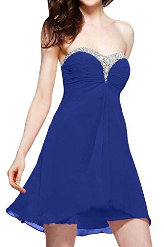 Ivydressing Damen Sweetheart Herzform A-Linie Chiffon Kurz Festkleid Ballkleider Abendkleid Royalblau