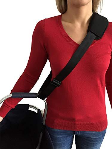 Tragegurt Carry Strap mit starkem Metall-Klicksystem | Gurt für Körbe Babyschalen Taschen | Verstellbare Universal Tragehilfe | Wird benutzt als Haltegurt Schultergurt Hebegurt (Schwarz) -